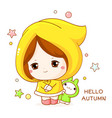 greeting autumn card in kawaii style cute shy vector image vector image