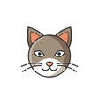 head image of cat bright cartoon isolated vector image vector image