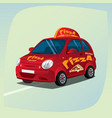 isolated pizza delivery car vector image
