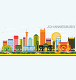 johannesburg skyline with color buildings and vector image vector image