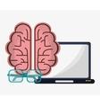 laptop brain creative glasses work vector image vector image