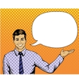 Man with speech bubble in retro pop art style vector image vector image