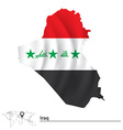 Map of Iraq with flag vector image vector image
