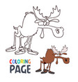 moose cartoon coloring page vector image vector image