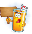 orange juice cartoon character holding sign vector image vector image