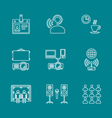 outline conference concept white icons set on dark vector image vector image