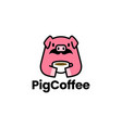 pig coffee cup moustache logo icon vector image vector image