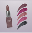realistic lipstick with collection of strokes of vector image vector image