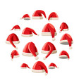 red santa claus hat icons set cartoon style vector image