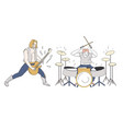 rock band guitarist and drummer performing onstage vector image vector image