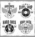 rock music monochrome emblems or labels vector image vector image