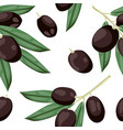 seamless olive pattern tile black olive vegetable vector image vector image