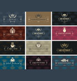set business cards on theme food and drink vector image