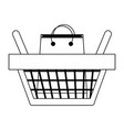 shopping basket with bag inside symbol in black vector image vector image