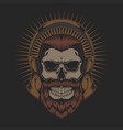 skull beard headphone vector image