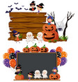 two blank boards with kids in halloween costume vector image