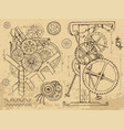 vintage echanisms and machines in steampunk style vector image