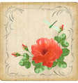 Vintage flower dragonfly retro card border frame vector image vector image