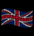 waving british flag pattern of manager icons vector image