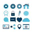 white background of tech share icons elements vector image