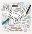 Business teamwork concept doodles icons set vector image