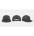 3d realistic black blank baseball cap vector image