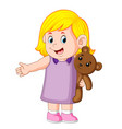A girl funy playing with the cute brown teddy bear