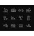 Agronomy machines white flat line icons vector image