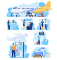 airline services people in airport staff and vector image