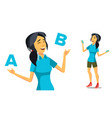 asian woman comparing a with b creative vector image