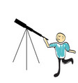 astronomer looking through a telescope vector image