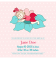 Baby Arrival or Shower Card - with Sleeping Fairy vector image