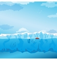 Background with long Iceberg and ship vector image vector image