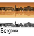 Bergamo skyline in orange background vector image vector image