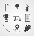 Black icons for golf vector image vector image