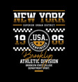brooklyn athletic sport typography design vector image vector image