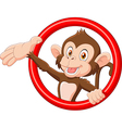 Cartoon funny monkey presenting vector image vector image