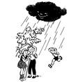 children hiding from rain under tree vector image vector image
