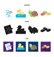 children toy cartoonblackflat icons in set vector image