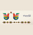 christmas and new year scandinavian bird banner vector image vector image