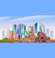 city dump with pile garbage dirty junkyard vector image