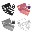 credit card security icon in cartoon style vector image vector image