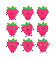 cute raspberry characters set with differen vector image vector image