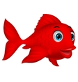 Cute red fish cartoon vector image