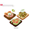 delicious smorrebrod the national dish of denmark vector image vector image