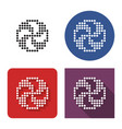 dotted icon volleyball in four variants with vector image