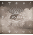 Emblem with sunburst and set of travel line icons vector image vector image