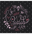 floral nature love sign with hand drawn elements vector image vector image