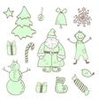 fun christmas icons with a boy vector image