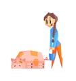 Girl Feeding Pig vector image vector image